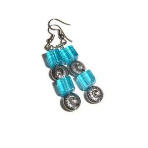 Spiral earrings Cube earrings